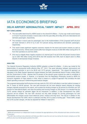 delhi airport aeronautical tariff: impact april 2012 - IATA