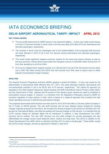 delhi airport aeronautical tariff: impact april 2012 - IATA