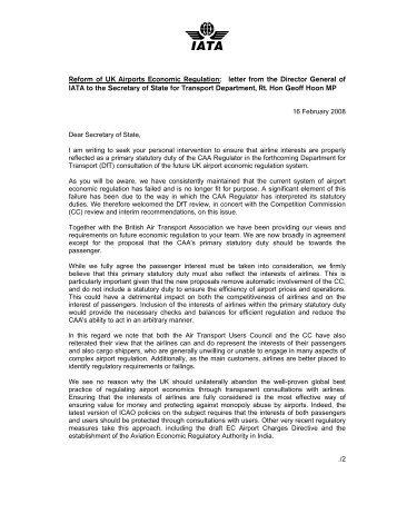 Reform of UK Airports Economic Regulation: letter from the ... - IATA