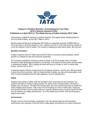 Flying In A Positive Direction- Commentary By Tony Tyler - IATA