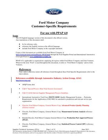 ford motor company customer specific requirements autos post. Black Bedroom Furniture Sets. Home Design Ideas
