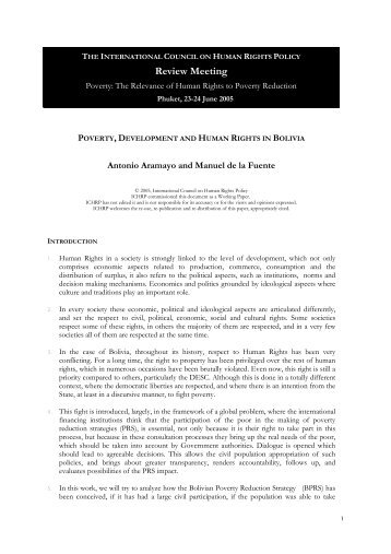 Poverty, Development and Human Rights in Bolivia - The ICHRP