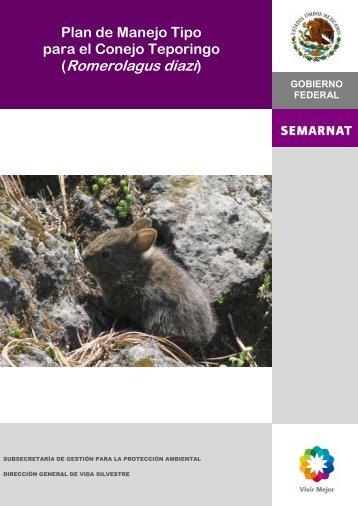 Plan de Manejo Tipo para el Conejo Teporingo - Semarnat