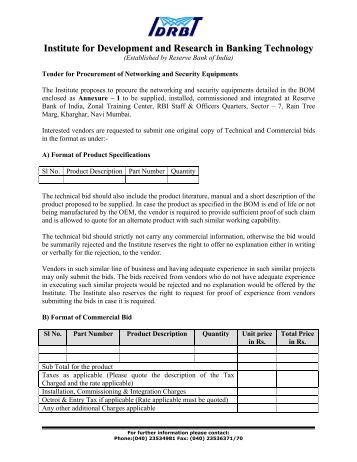 RFP_for NWSecurity Equipments.pdf - IDRBT