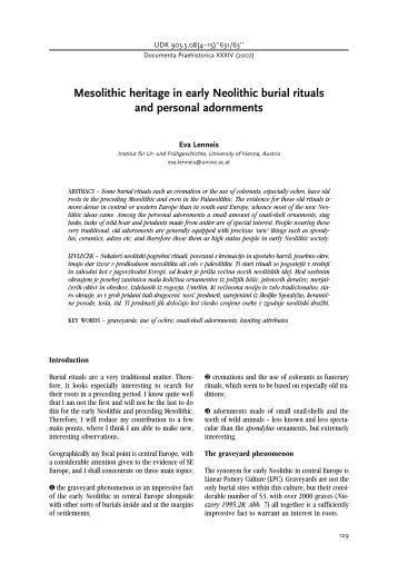 Mesolithic heritage in early Neolithic burial rituals and personal ...