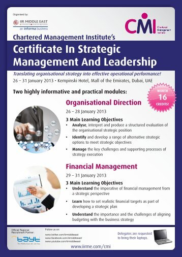 Certificate In Strategic Management And Leadership
