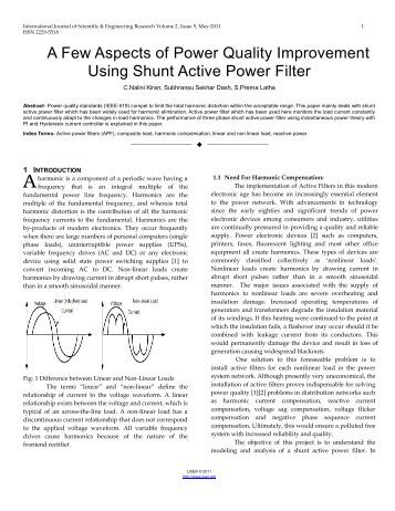 thesis on power quality improvement using shunt active filter B sasikishore and tamar kiran : pv based shunt active power filter for power quality improvement using p-q theory supplied from the ac source to the loads this.