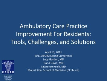 Ambulatory Care Practice Improvement For Residents - Alliance for ...