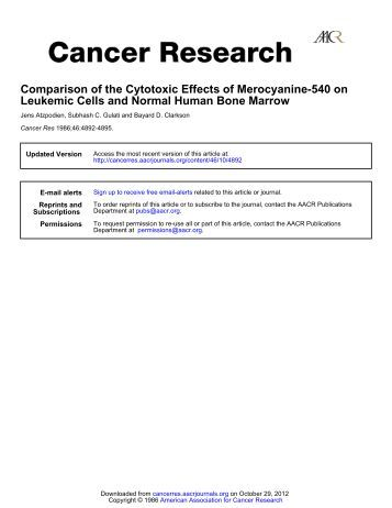 Comparison of the Cytotoxic Effects of ... - Cancer Research
