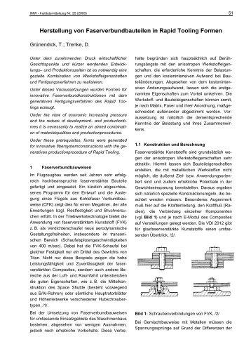 Herstellung von Faserverbundbauteilen in Rapid Tooling Formen