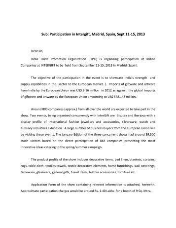 Mobilisation Letter - India Trade Promotion Organisation