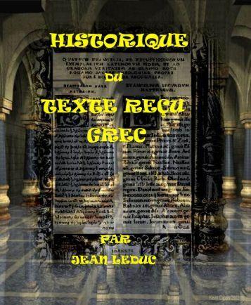 Historique du Texte Recu Grec.
