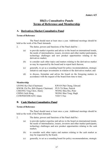 HKEx Consultative Panels Terms of Reference and Membership