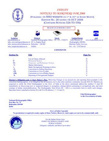 Edition 20 of 2008. - Indian Naval Hydrographic Department