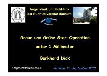 Graue und Grüne Star-Operation unter 1 Millimeter Burkhard Dick ...