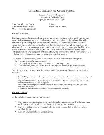 Social Entrepreneurship Course Syllabus - Students