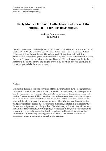 Early Modern Ottoman Coffeehouse Culture and the Formation of ...