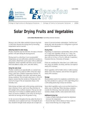 Solar Drying Fruits and Vegetables - South Dakota State University