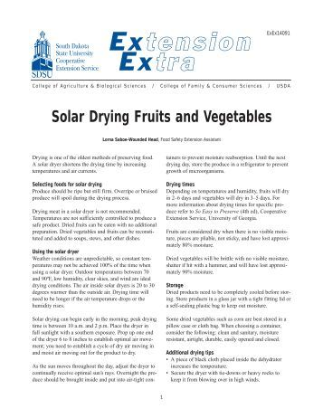 Solar Drying Fruits and Vegetables - South Dakota State University