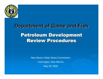 General informati for New mexico department of game and fish
