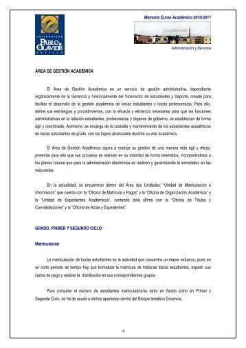PRIMER Y SEGUNDO CICLO - Universidad Pablo de Olavide