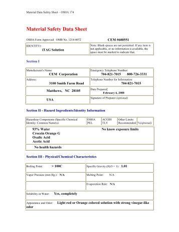 Material Safety Data Sheet Osha 174 Quality 80 Ytical Sensors