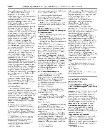 69 FR 74560 - Directorate of Defense Trade Controls