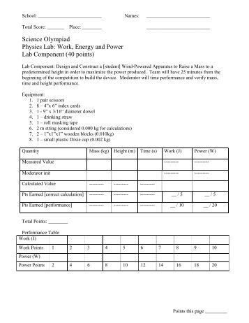 science work and power lab Work, energy & power  nhl players depend on three important physics concepts: work, energy and power provided by the national science foundation & nbc learn.