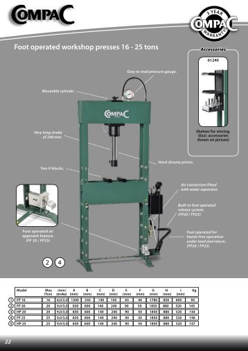 Foot operated workshop presses 16 - 25 tons - CompaC