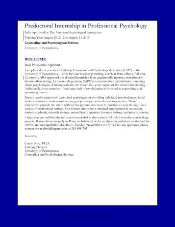 predoctoral internship in professional psychology university of