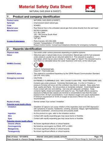 Msds Natural Gas Sweet
