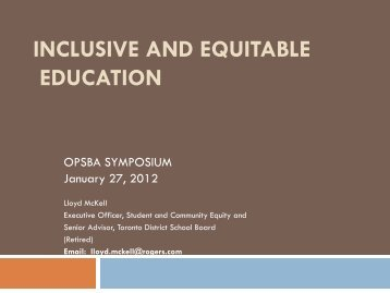 Inclusive and Equitable Education Strategies - OPSBA