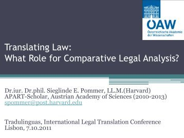 What Role for Comparative Legal Analysis? - Tradulex