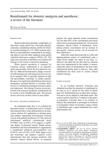 Review of the efficacy and safety of remifentanil for the ...