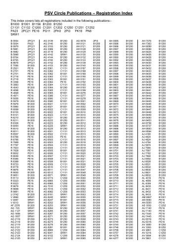 PSV Circle Publications – Registration Index - The PSV Circle Website