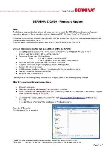 Download instruction Firmware Update - Bernina