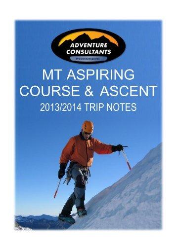 MT ASPIRING COURSE & ASCENT - Adventure Consultants