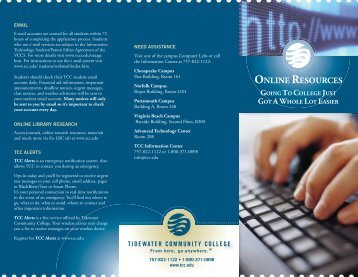 Online Resources Brochure - Tidewater Community College
