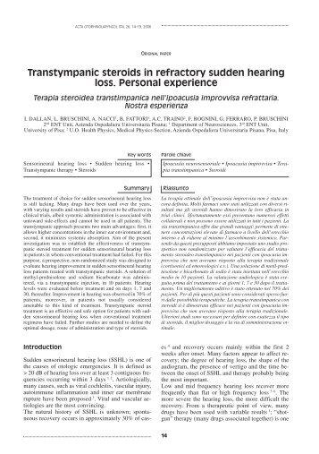 Sudden sensorineural hearing loss - UpToDate