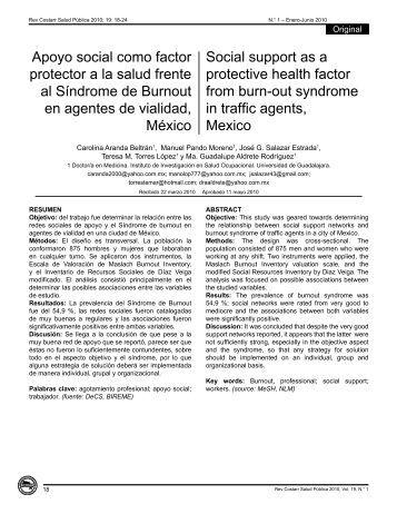 Apoyo social como factor protector a la salud frente al ... - SciELO