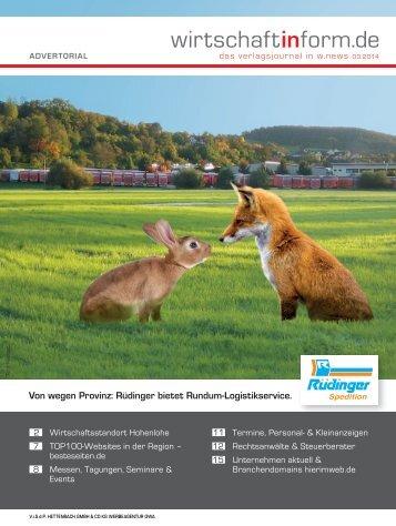 Wirtschaftsstandort Hohenlohe | wirtschaftinform.de 03.2014