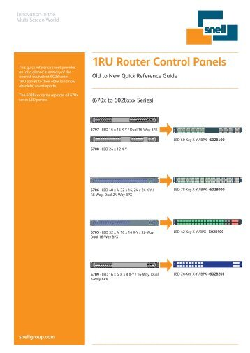 Old to New panel quick reference guide - Snell