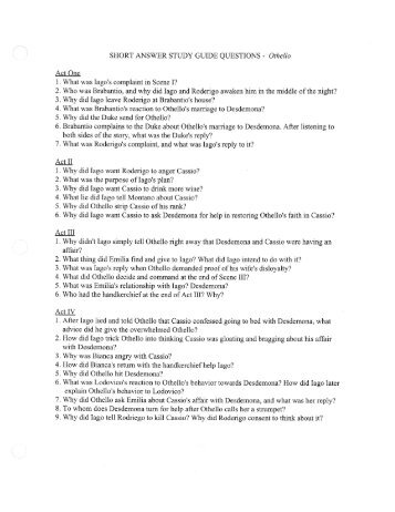 othello study guide questions Introducing othello, iago, and shakespearean tragedy to your class included in  this 21 page study guide questions packet for william shakespeare's othello.