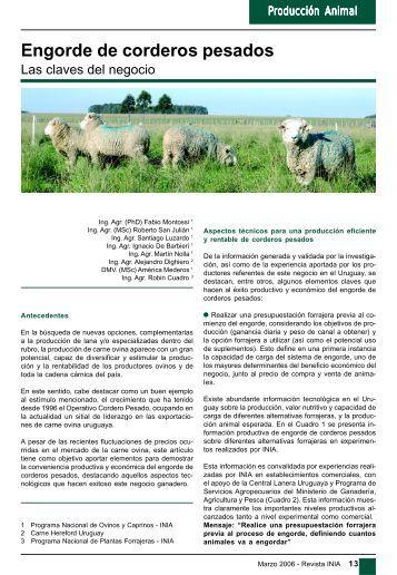 Engorde de corderos pesados - Inia