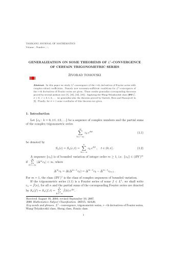 GENERALIZATION ON SOME THEOREMS OF L1-CONVERGENCE ...