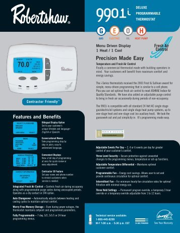 9901i Programmable - Robertshaw Thermostats