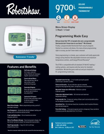 9700i Programmable - Robertshaw Thermostats