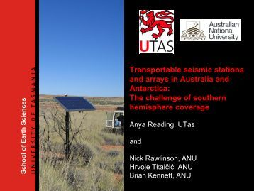 Transportable seismic stations and arrays in Australia and ... - IRIS