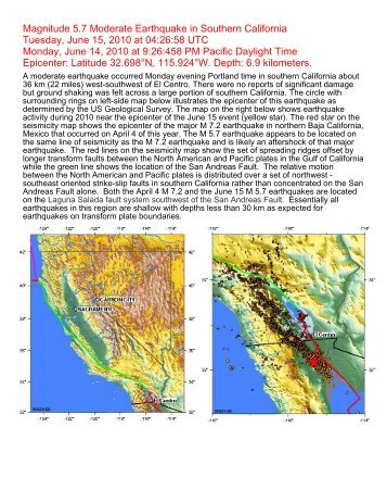 Magnitude 5.7 Moderate Earthquake in Southern California ... - IRIS