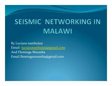 Seismic Networkking In Malawi - IRIS